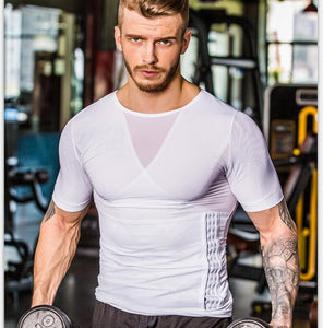 Updated Seamless Mesh Patchwork Men Sports Compression T Shirt Gym Fitness Running Bodybuilding Slim Waist  Dry Quick Tights