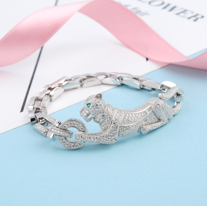 Hot Brand Pure 925 Sterling Silver Jewelry For Women Panther Bangle Full Stone Leopard Bangle Wedding Jewelry Big Chain Bracelet