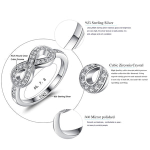 ELESHE Original 925 Sterling Silver 8-Shaped Bowknot Infinity Finger Rings Micro CZ Crystal Rings for Women Wedding Jewelry Gift