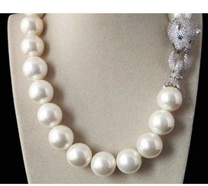 Tremendous Big Sweater chain Beautiful NEW Huge 16mm Genuine White blue South Sea Shell Pearl Necklace Silver jewelry Wonderful