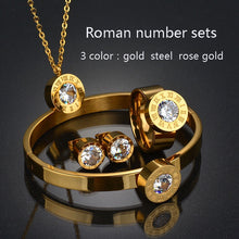 Cargar imagen en el visor de la galería, Top Quality 316l Stainless Steel Number 7 Colors CZ Stone Wedding Jewelry Set For Valentine's Day Gifts