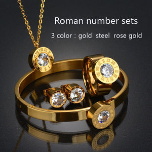 Top Quality 316l Stainless Steel Number 7 Colors CZ Stone Wedding Jewelry Set For Valentine's Day Gifts