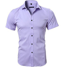 Cargar imagen en el visor de la galería, Men's Elastic Bamboo Fiber Dress Shirts 2018 Summer New Short Sleeve Shirt Men Casual Brand Business Work Shirt Camisa Masculina