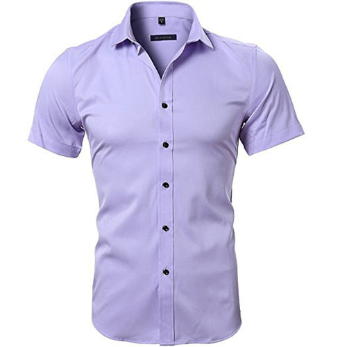 Men's Elastic Bamboo Fiber Dress Shirts 2018 Summer New Short Sleeve Shirt Men Casual Brand Business Work Shirt Camisa Masculina