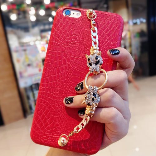 Rhinestone leopard chain bracelet leather phone case for iPhone 11 pro 6s 7 8 plus X max XR for samsung s8 s9 s10 s20 note 9 10