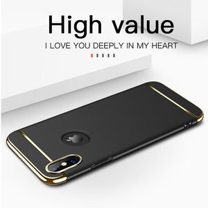 Luxury Gold Hard Case for iPhone 11 Pro 5 5s SE X Back Cover Xs Max XR Removable 3 in 1 Fundas Case for iPhone 8 7 6 6s Plus Bag