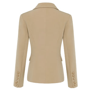 TOP QUALITY New Stylish 2020 Classic Designer Blazer Women's Double Breasted Metal Lion Buttons Blazer Jacket Outer Wear Khaki