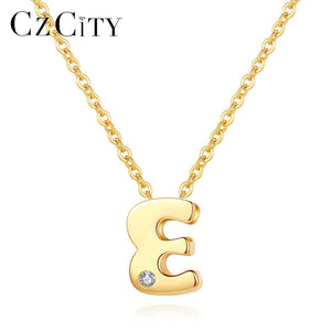 CZCITY Genuine 14K Gold Petite CZ Initial Letter Pendant Necklaces for Women Unique A-Z Letter Necklace Jewelry Gifts