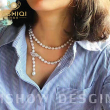 Cargar imagen en el visor de la galería, ASHIQI 90CM Cultured Natural Freshwater Pearl Necklace 925 silver Long Sweater chain Fashion collocation Jewellery women gift