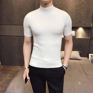 MRMT 2019 Brand Men's Sweater Pure Color Short Sleeves  Semi High Necked Pullover for Male Sweater Tops