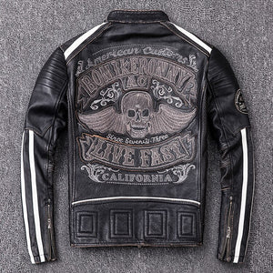 Free shipping.2019 Brand new mens motor biker Leather jacket.fashion skulls cowhide coat.plus size vintage slim jacket.black