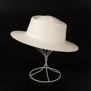2019 New Unisex White Wide Brim Beach Hats Men Ladies Fedora Derby Church Dress Hat  Fine Braid Sun Cap Summer Straw Hat Base