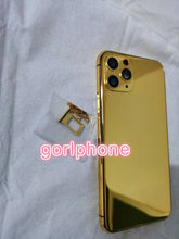 Cargar imagen en el visor de la galería, 2020 hot sale 24k Mirror Gold Chassis Rear Door for phone 11 pro max Battery Housing Middle Frame with logo