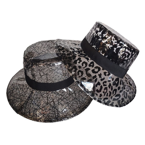 Women's Casual PVC Plastic Bucket Hats Girls Solid Black Leopard Nest Print Large Brim Fisherman Sun Visor Cap Panama Hat