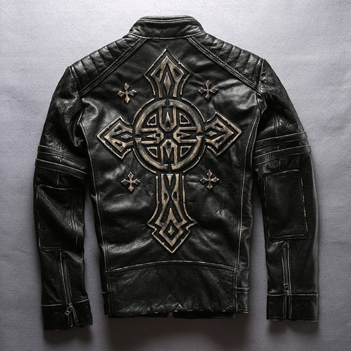 Read Description! Asian size men's cow leather mens clothing coat cowhide genuine leather vintage rider jacket