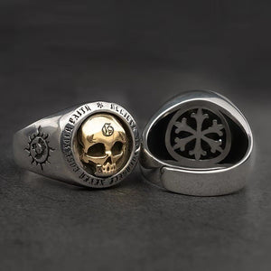 Vintage Domineering Skull Rings for Men Trendy Hip-hop Skull Ring Heavy Metal Punk Rock Ring Gift Biker Steam Motorcycle Jewely