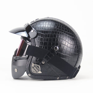 Motorcycle Helmet Retro Ece Capacete Vintage Cross-Country Motorcycle Riding Off-Road Helmet Scooter Anti Fog Full Face Kask