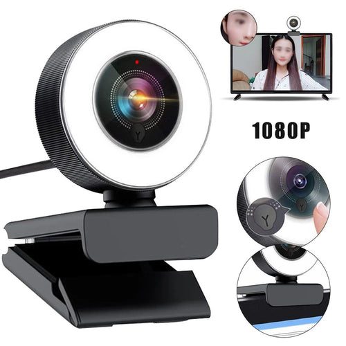 2MP HD 1080P Webcam Auto Foco con Micro y Anillo de luz