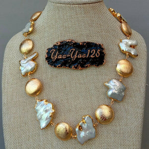 19'' Freshwater Keshi Pearl Golden Plated Necklace
