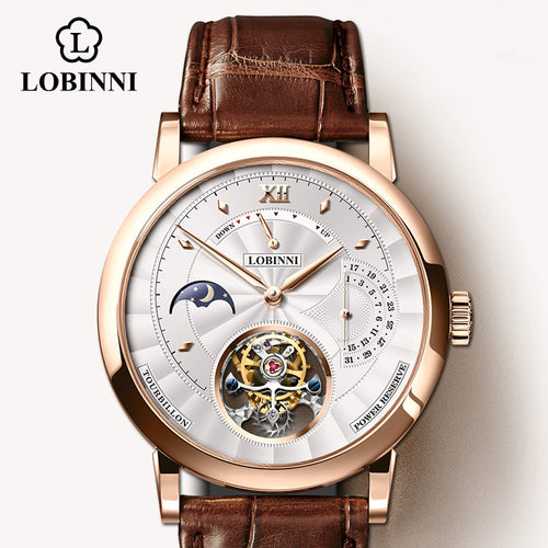 LOBINNI erkek kol saati Switzerland Luxury Brand Automatic Mechanical Men's Wirstwatches Sapphire Leather Real Tourbillon Watch