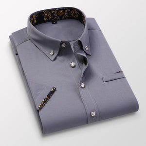 Men's Business Short Sleeve Blue Solid Dress Shirt Soft Non-iron Fashion Regular Fit Turn-down Collar Checked Smart Casual Shirt