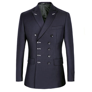 Men Suits Slim Fit Suit Blazer Double Breasted Peak Lapel Navy Blue Black Wedding Suit Groom Party Prom Skinny Costume Tuxedo