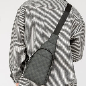 New Check pattern fashion trendy men chest bag male breast bag vegan leather Multi-functional one-shoulder bag