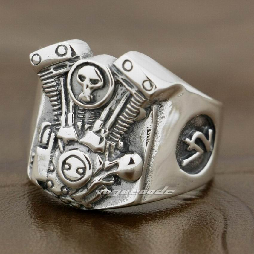 V2 Skull Motorcycle Engine 925 Sterling Silver Mens Biker Punk Ring 8Y009 US Size 7 to 14