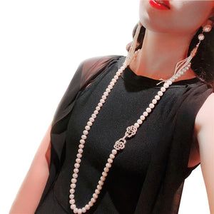 Trendy Real Natural Long Pearl Necklace Women,Wedding White Freshwater Round Pearl Necklace Party Gift