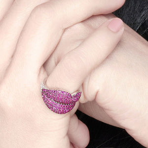 Luxury 925 Sterling Silver Sexy White Red Lip Finger Rings Cubic Zirconia Stones Yao Chen Collection Women Fine Jewelry