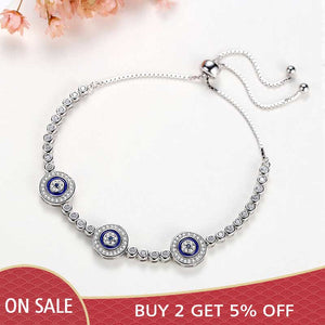 Women Evil Eye Lucky Hamsa Bracelet Genuine 925 Sterling Silver Men Luxury Round Blue Eyes CZ Crystal Tennis Bracelet KLTB014