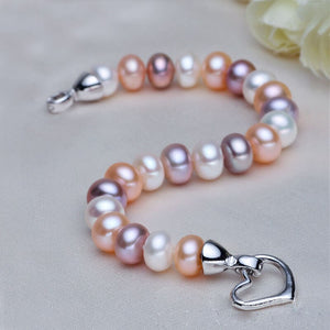 Natural Real Pearl Bracelets For Women,Freshwater Pearl Beads Bracelets Hart Clasp,Multi Color Pearl Charm Bracelet