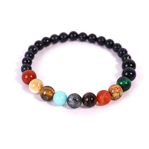Solar System Eight Planet Themed Natural Stone Beaded Bracelet Planet Glass Men And Women Neutral Bracelet Pendientes Mujer