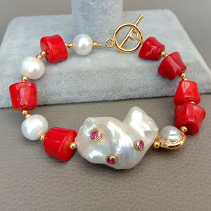 Red Coral White Pearl White Keshi Pearl Cz pave Connector Bracelet free shipping