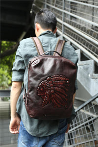 Original Indian head layer cowhide handmade vintage Men backpack European and American leather computer bag travel backpacks