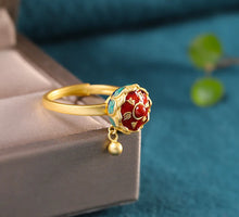 Cargar imagen en el visor de la galería, 925 Sterling Silver Gold Plated Cloisonne Agate Lotus Throne Rings Open Vintage Chinese Style Gemstone Ring Fine Jewelry Women