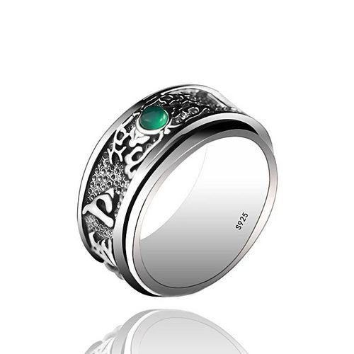 ONE TASTE 925 Sterling Thai Silver Men's Ring Buddhism Mantra Chalcedony Rotated Outside Circle Rings Fine Jewelry Trendy Gift