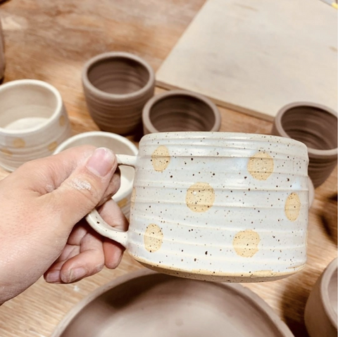 Yellow and White Textured Polka Dot Mugs