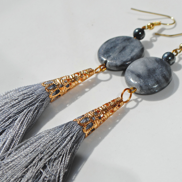 Bohemian-inspired blue tassel earrings with genuine blue-grey agate stone and gold fish hook findings