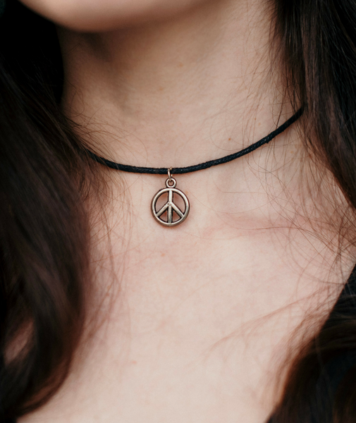 Peace Sign Choker Necklace