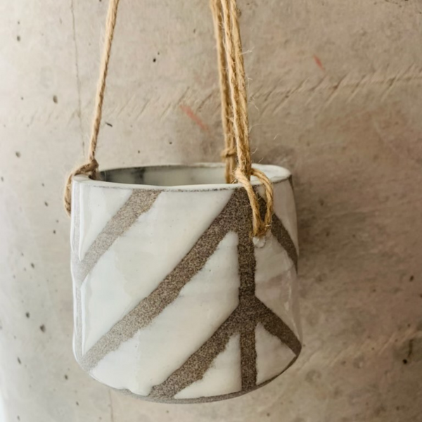Medium Granite and White Chevron Hanging Planter