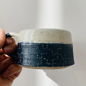 Sashiko Inspired Mug - Juji Tsunagi (linked crosses)