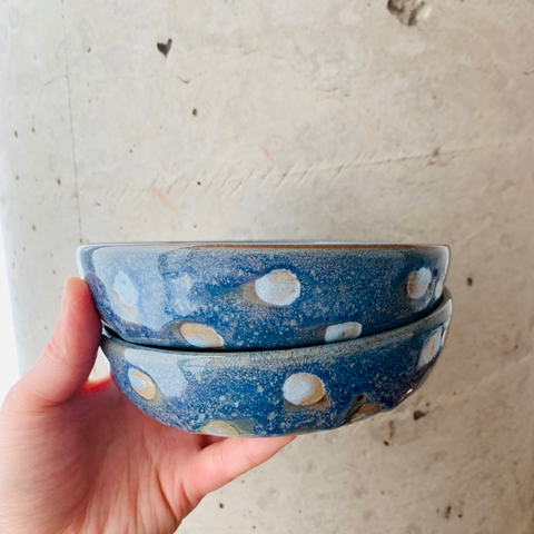Blue Polka Dot Clay Bowls