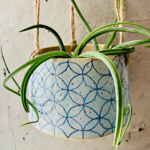 Medium Blue Hanging Planter