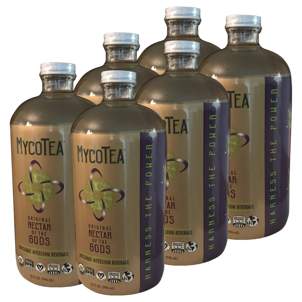 MycoTea, 6 pack of 32oz in glass Boston round
