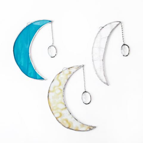 Handcrafted Stain Glass Moons