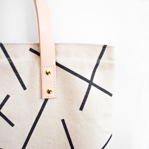 Graphic Canvas Tote Bag with Leather Straps - Natural / Black