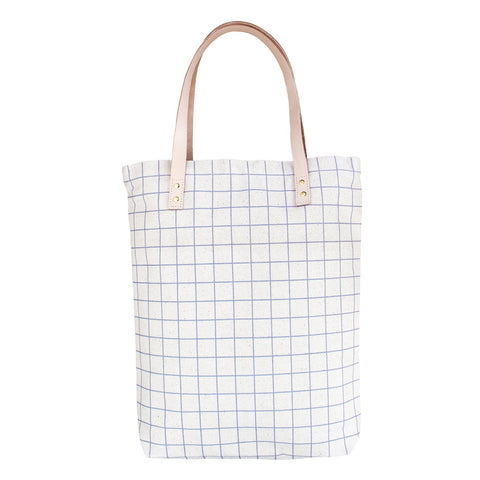 Graphic Canvas Tote Bag with Leather Straps - Natural / Ash