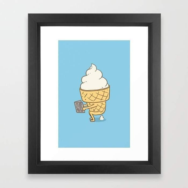 Ice Cream Cone Art Print With Black Frame