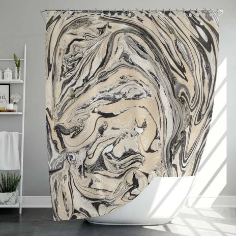 Abstract print shower curtain in bathroom